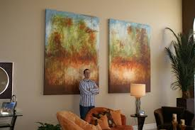 oversized commissioned painting for a two story great room andy