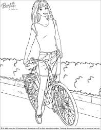 barbie with her bike coloring page coloring pages for girls