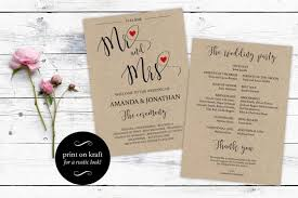 kraft paper wedding programs free wedding program templates wedding program ideas