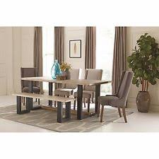 Wood Dining Table With Bench And Chairs 6 Piece Dining Furniture Sets Ebay