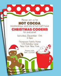 christmas cocoa and cookies invitation printable or