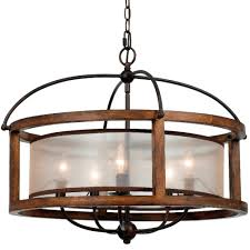 Iron And Wood Chandelier Iron Wood Sheer Shade Chandelier 26 Fx 3536 5