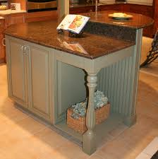 kitchen island with beadboard decorative leg and two levels