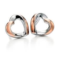 silver stud earrings uk fiorelli silver gold plated ribbon heart stud earrings