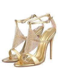 wedding shoes gold gold wedding shoes high heel sandals rhinestone ankle