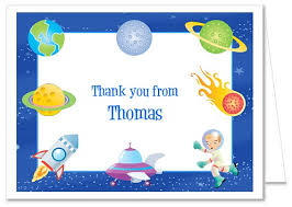 space astronaut rocket birthday party thank you note cards