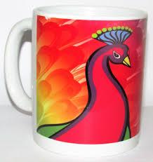 mug lovely graphic peacock colorful design beautiful peacock