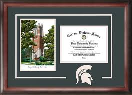 of michigan diploma frame michigan state beaumont tower lithograph diploma
