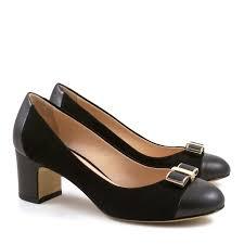 italian pumps shoes in black suede leather medium heels italian