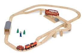 melissa and doug train table and set amazon com melissa doug swivel bridge wooden train set 47 pcs