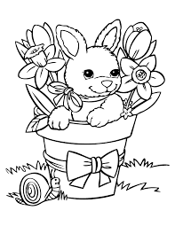Rabbit Coloring Pages With Flowers Coloringstar Rabbit Colouring Page
