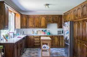 how to stain a kitchen cabinet diy staining oak cabinets eclectic spark