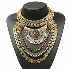 collar gold necklace images Vintage gold silver crystal multilayer bib statement collar jpg