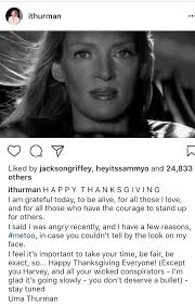 whoa uma thurman says happy thanksgiving to everyone except