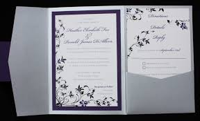 purple and silver wedding invitations purple black silver floral pocketfold wedding invitations