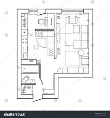 floor plan icons architecture plan furniture house floor plan stock vector