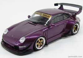 purple porsche 911 gt spirit gt727 scale 1 18 porsche 911 993 rwb 1996 purple met