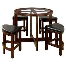 Circle Glass Table And Chairs Mibasics 5pc Glass Table Top Circle Dining Table Set Wood Dark