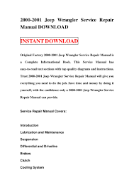 2000 2001 jeep wrangler service repair manual download