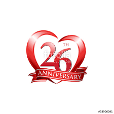 26th wedding anniversary 26th anniversary logo ribbon stock image and royalty