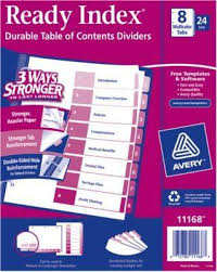 avery 8 tab ready index multicolor table of contents dividers