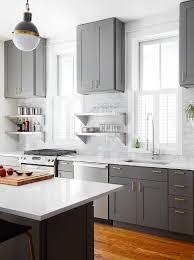 White And Gray Kitchen Cabinets Charcoal Gray Kitchen Cabinets With Natural Brass Edgecliff Pulls