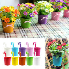 metal iron flower pot hanging balcony garden plant planter home