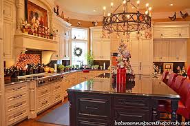 kitchen decorated for christmas with peppermint candy gingerbread