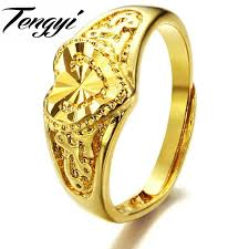 love shaped rings images Tengyi women fashion jewelry copper plating gold color rings love jpg