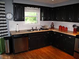 Kitchen Colors With Black Cabinets Thinking Black Cabinets With Butcher Block Countertops Home