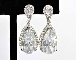 Beaded Chandelier Clip Earrings White Bridal Clip Earrings Etsy