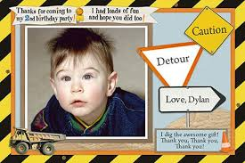birthday thank you cards for a construction birthday party
