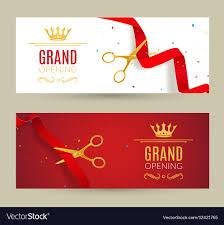 grand opening ribbon grand opening invitation banner ribbon cut vector image