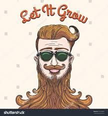 hipster huge beard wording let grow stock vector 367028000