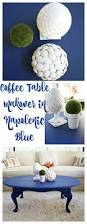 coffee table makeover in napoleonic blue chalk paint 2 bees in a pod
