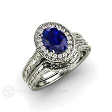 blue sapphire engagement ring oval antique diamond halo u2013 rare