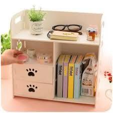 Desk Organizer Shelves Diy Modern White Wooden Storage Box Desk Organizer For Cosmetics