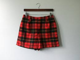 Vintage Wool Christmas Plaid Dress Shorts Holiday Ugly  Etsy