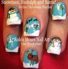 christmas nail art snowmen reindeer and snow xmas nails design
