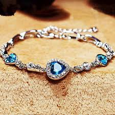 women bracelet heart images 3091 womens ladies crystal rhinestone bangle ocean blue bracelet jpg