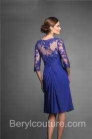 sheer half sleeve short royal blue chiffon lace mother of the