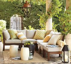 L Shape Wooden Sofa Designs Interior Vintage Black Drum Pottery Barn Outdoor Tables With