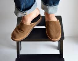 Mens Leather Bedroom Slippers by Slippers Men Felt Slippers House Slippers Men Handmade