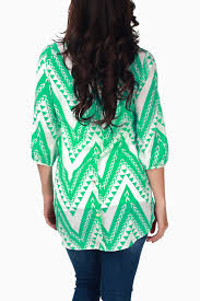 mint green white tribal chevron maternity blouse
