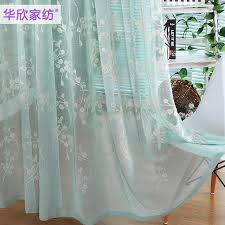 Blue Sheer Curtain Sale American Country Fresh Gauze High Grade Embroidered Blue