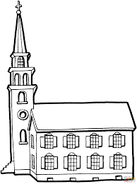 little church with tower coloring page free printable coloring pages