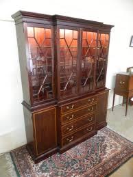 henkel harris mahogany breakfront china cabinet lighted sold