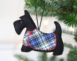 scottie dog christmas ornament angus blue tartan coat