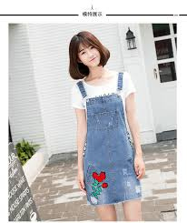 buy floral embroidery denim pinafore overall dress sally fashion