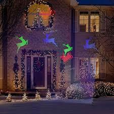 light show led multi color merry sleigh reindeer